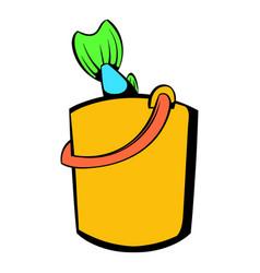 Fresh fish in yellow bucket icon icon cartoon vector