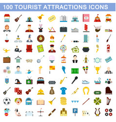 100 tourist attraction icons set flat style vector