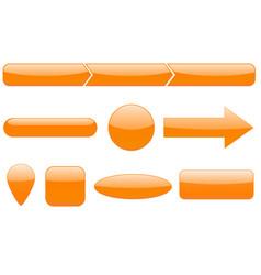 buttons set orange web icons vector image