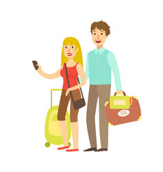 Young couple with travel bags traveling colorful vector