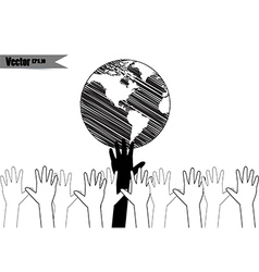 Hands take care of cultural earth vector