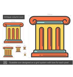 Antique column line icon vector