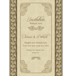 Baroque wedding invitation beige and blue vector