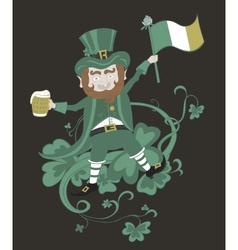 Leprechaun with flag holding a mug of beer in the vector