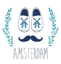 Colorful Amsterdam composition with shoes and vector image