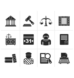 Silhouette justice and judicial system icons vector