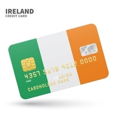 Credit card with ireland flag background for bank vector
