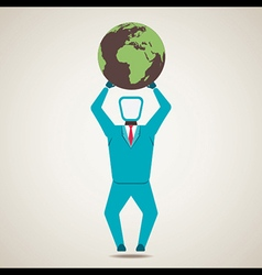 Men lift the globe world vector