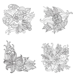Set of hand drawn artistic ethnic ornamental vector