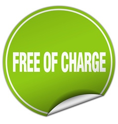 Free of charge round green sticker isolated on vector