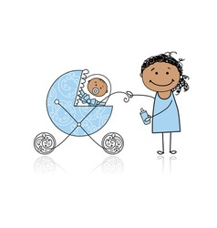 Mother with baby in buggy walking vector