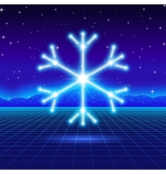Christmas card with 80s neon snowflake vector