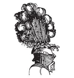 Aigret worn on helmets vintage engraving vector