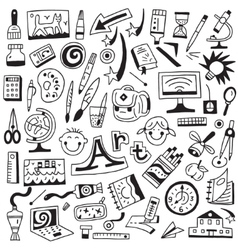 art tools school - doodles set vector image vector image