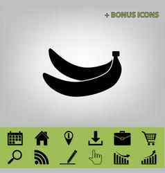 Banana simple sign black icon at gray vector