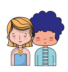 Beauty couple together with hairstyle design vector