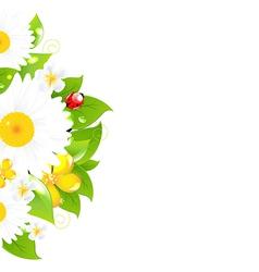 Bunch of flowers with grass vector