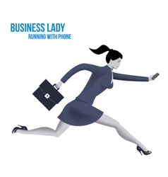 Business lady running with mobile phone template vector