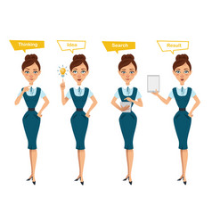 Business woman characters four different poses vector