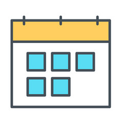 calendar line icon symbol in outline style vector image vector image