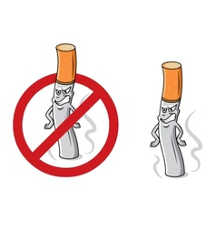 Cartoon angry cigarette with stop sign vector