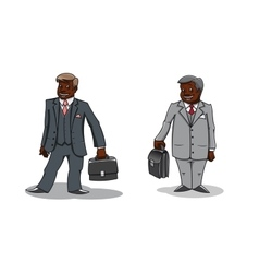Cartoon happy businessmen with briefcases vector image vector image