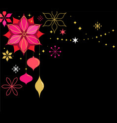 Christmas banner with snowflakes and decorations vector