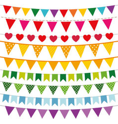 Colorful bunting flags set vector