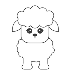 Cute sheep cartoon icon vector