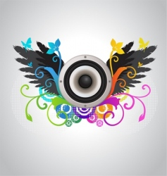 floral audio speaker vector image