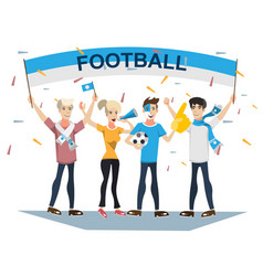 Football sports fans supporting teams vector