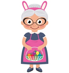 Grandmother holding a basket with Easter eggs vector image