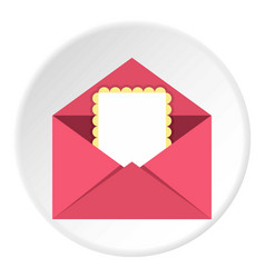 greeting card in pink envelope icon circle vector image