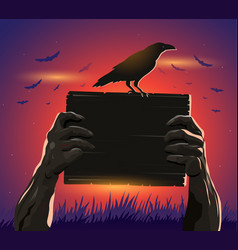 Haloween zombie hands holding a placard and crow vector