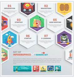 Icons infographic of headwork strategy start up vector
