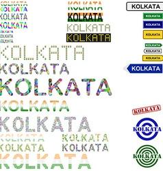 Kolkata text design set vector