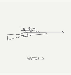 Line flat hunt and camping icon sniper vector