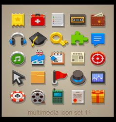 multimedia icon set-11 vector image vector image