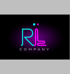 neon lights alphabet rl r l letter logo icon vector image vector image