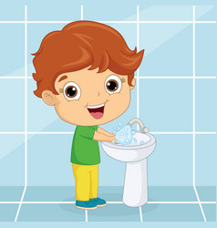 of a kid washing hands vector image vector image