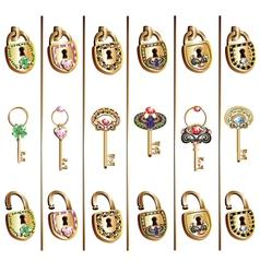 padlock and key set vector image