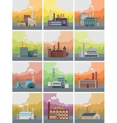 Set of factory building banners vector