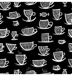 Set of ornate mugs Seamless pattern for your vector image