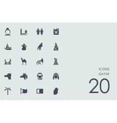 Set of Qatar icons vector image vector image