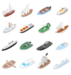 Ship and boat icons set isometric 3d style vector image vector image