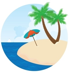 Summer island Palm trees on the beach vector image