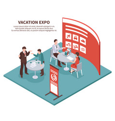 vacation expo isometric background vector image vector image