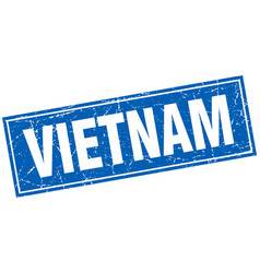 Vietnam blue square grunge vintage isolated stamp vector