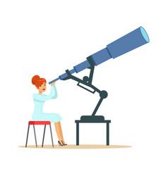 Woman astronomer looking through telescope vector