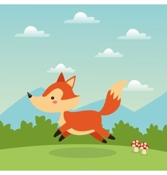 Fox cartoon icon woodland animal graphic vector